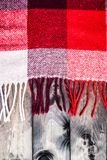 Red and white plaid with the fringe. Red and white plaid on a wooden background Royalty Free Stock Photography