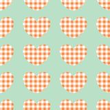 Red and white plaid vector background. Seamless repeat checkered hearts pattern stock illustration
