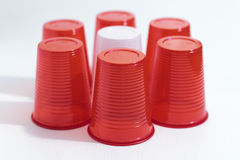 Red and white plastic cups Royalty Free Stock Photo