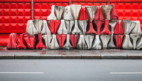 Red and white plastic road barriers Royalty Free Stock Photography