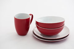 Red and white plates and bowls Royalty Free Stock Photos