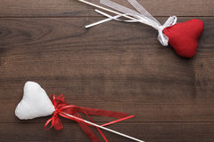 Red and white plush heart shapes on sticks Royalty Free Stock Photography