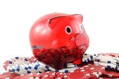 Red and white poker chips with a piggy bank. On a white background, playing poker Stock Photography