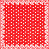 Red white polka dot background with lace Royalty Free Stock Photo