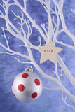 Red and white polka dot baubles. Royalty Free Stock Photo