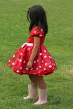 Red and White Polka Dot Dress. Little girl in a red and white polka dot dress wearing pink wellington boots and standing sideways on the grass Stock Images