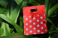 Red and white polka dot gift container Royalty Free Stock Image