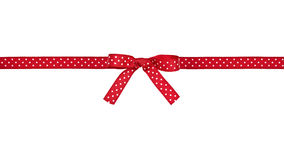 Red and white polka dot ribbon and bow Stock Photo