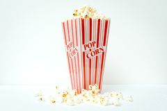 Red and white popcorn container royalty free stock photo