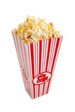 A red and white popcorn container on white Stock Image