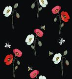 Red and white poppies with butterflies and bees Royalty Free Stock Image