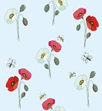 Red and white poppies with butterflies and bees Stock Photography