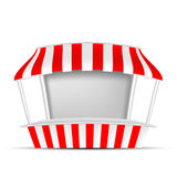 Red and White POS POI Outdoor/Indoor 3D Stall or Kiosk. VECTOR: Red and White POS POI Outdoor/Indoor 3D Stall or Kiosk on  white background. Mock-up template Stock Image