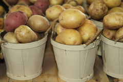 Red And White Potatoes In Baskets Stock Image
