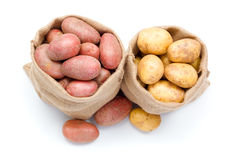 Red and white potatoes in burlap sack Stock Images