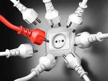 Red and white power plugs and a socket - leadership concept Royalty Free Stock Images