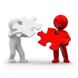 Red white puzzle. Two 3d humans with puzzle piece in hands Stock Images