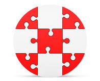 Red and white puzzles as circle Royalty Free Stock Photography