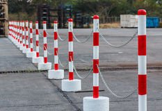 Red white pylons Alerts Stock Photo