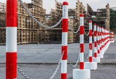 Red white pylons Alerts traffic warning. Danger symbol stock photography