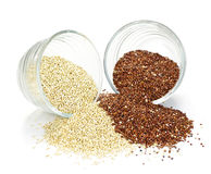 Red and white quinoa grain in bowls stock photo