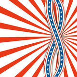 Red and white rays.Abstract background USA independence day.Two ribbons with stars. Royalty Free Stock Photo