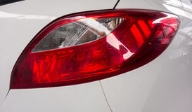The red and white rear lamp of car Stock Photos