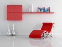 Red and white relax room Stock Images