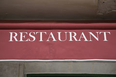 Red and White Restaurant Sign Royalty Free Stock Photo