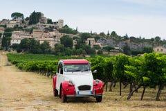 Retro car grape grove. Red and white retro car standing near the grape grove with scenery landscape Stock Image