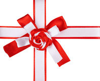 Red and white  ribbon bow Royalty Free Stock Photo
