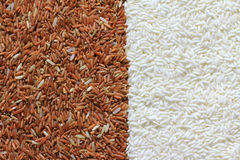 Red and white rice grains Stock Photo