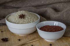 Red and white rice with spices. Raw asian rice Royalty Free Stock Photos