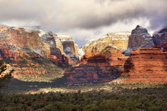 Red White Rock Canyon Snow Clouds Sedona Arizona. Boynton Red Rock White Canyon Snow Clouds Green Trees Sedona Arizona Royalty Free Stock Image