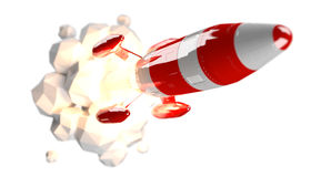 Red and white rocket launching 3D rendering Stock Photography