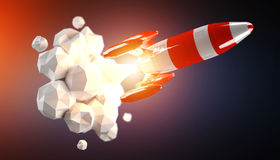 Red and white rocket launching 3D rendering Stock Images