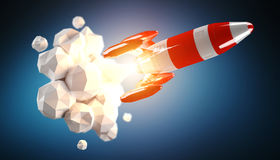 Red and white rocket launching 3D rendering Royalty Free Stock Photography