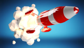 Red and white rocket launching 3D rendering Royalty Free Stock Photo