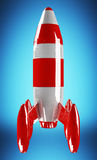 Red and white rocket launching 3D rendering Stock Image