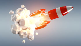 Red and white rocket launching 3D rendering Stock Photos