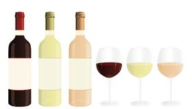 Red, white and rosé wineglasses. Communication banner. Stock Image