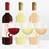 Red, white and rosé wineglasses. French brand names. Stock Photos