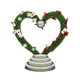 Red White rose Arch. Fantasy isolation green tree topiary Arch with  fancy watch on podium with Red and White Roses and cards. Computer graphics Stock Image