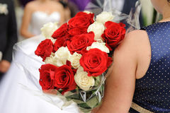 Red and White Rose Bouquet Stock Photography