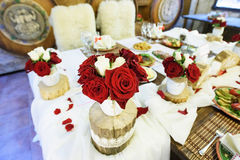 Red and White Rose Bouquets Royalty Free Stock Photo