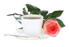 Red white rose and cup of tea Stock Photo