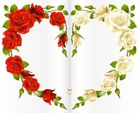 Red and white Rose frame. In the shape of heart Stock Photo