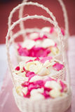 Red and white rose petals Stock Photography
