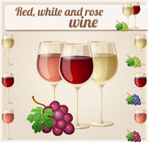 Red, white and rose wine in glasses. Detailed. Vector Icon. Series of food and drink and ingredients for cooking Stock Photography