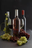 Red, white & Rose wine with glasses & grapes Royalty Free Stock Image